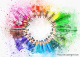 Aquarel ansichtkaart - Kleurpotloden