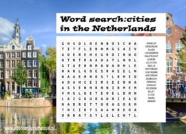 Woordzoeker ansichtkaart Steden