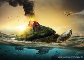Schildpad met vulkaan
