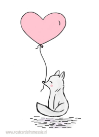 Fox with balloon