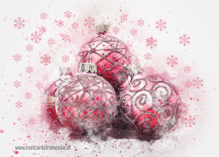 Kerstballen ansichtkaart