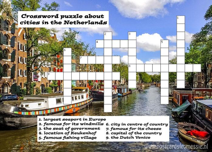 Kruiswoordpuzzel ansichtkaart Steden