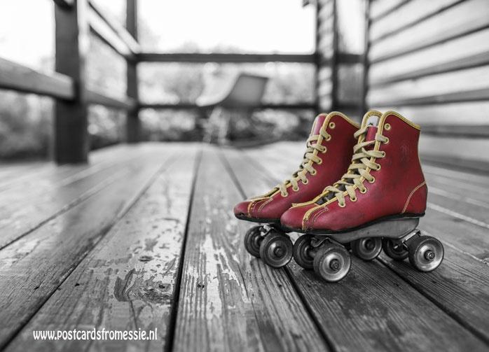 Rolschaatsen ansichtkaart