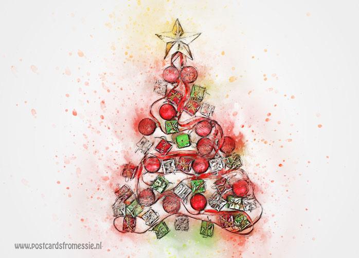 Kerstboom ansichtkaart