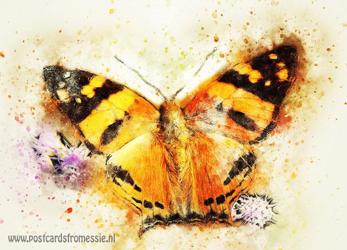 Aquarel ansichtkaart - Vlinder