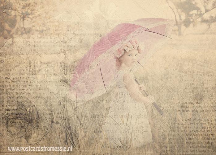 Sepia postcard - Girl with umbrella