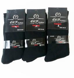 Heren 12 paar  zwart Thermo maat 43/46  1,00 per paar