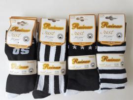Dames sokken zwart/wit  maat 36/41   12 paar   0,45  per paa