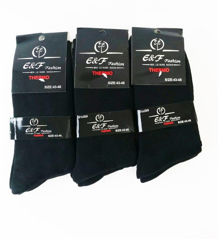 Heren  12 paar Thermo sokken zwart  6x maat 39-42  en 6 x maat 43/46    1,00  per paar