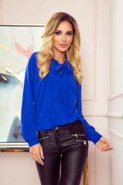 Kobaltblauwe blouse met strik