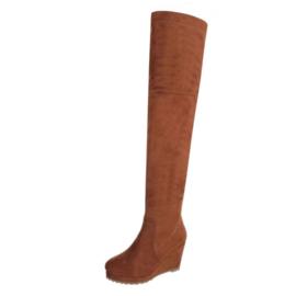 Suéde overknee-laarzen  met sleehak