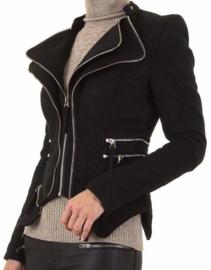Zwart suede look jasje met ritsjes