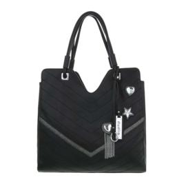 Zwarte damestas met prachtige zilveren details