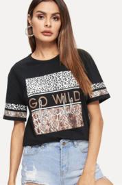 Prachtig zwart t-shirt met leopard print
