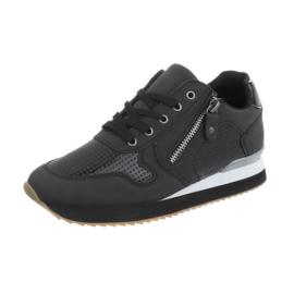 Zwarte lage sneakers met ritsje