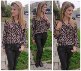 Soepelvallende blouse met leopard patroon