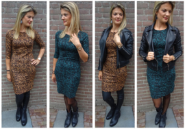 Prachtige suède look jurk met leopard patroon