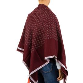 Rode sjaal met aztek printje en kleurrijke franjes