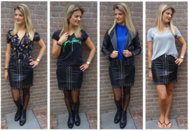 Prachtige leather look rok met studs
