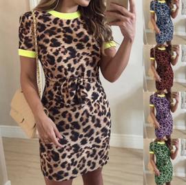 Leopard jurk met bies