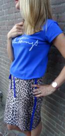 Leopard rok met blauwe bies aan de zijkant