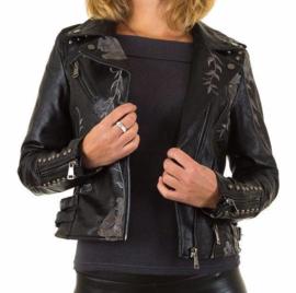 Stoer biker jacket met bloemenprint en studs
