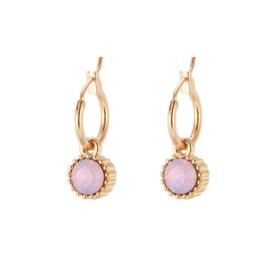 Prachtige goudkleurige oorbellen met roze steentjes
