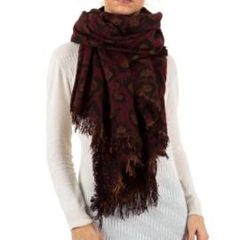 Sjaal met pantermotief en franjes