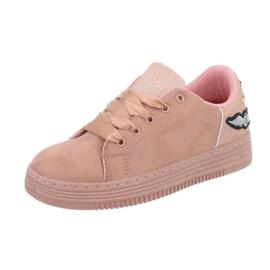 Roze lage sneakers met zijden oversized veters