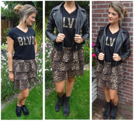 Zwarte BLVD top in leopard patroon