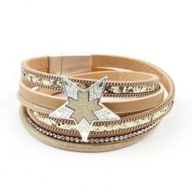 Goudkleurige armband met glitters en ster
