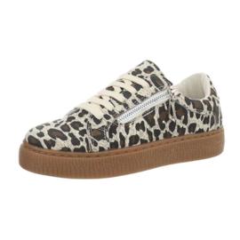 Lage leopard sneakers met ritsje