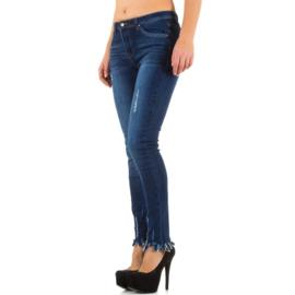 Skinny fit jeans met gerafelde onderzijde