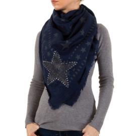 Donkerblauwe dames sjaal met sterren
