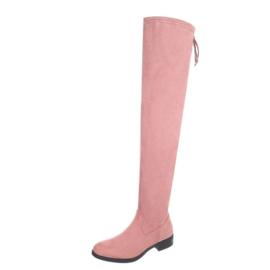 Roze suede look overknee laarzen