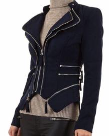 Suede look jasje met ritsjes in marineblauw