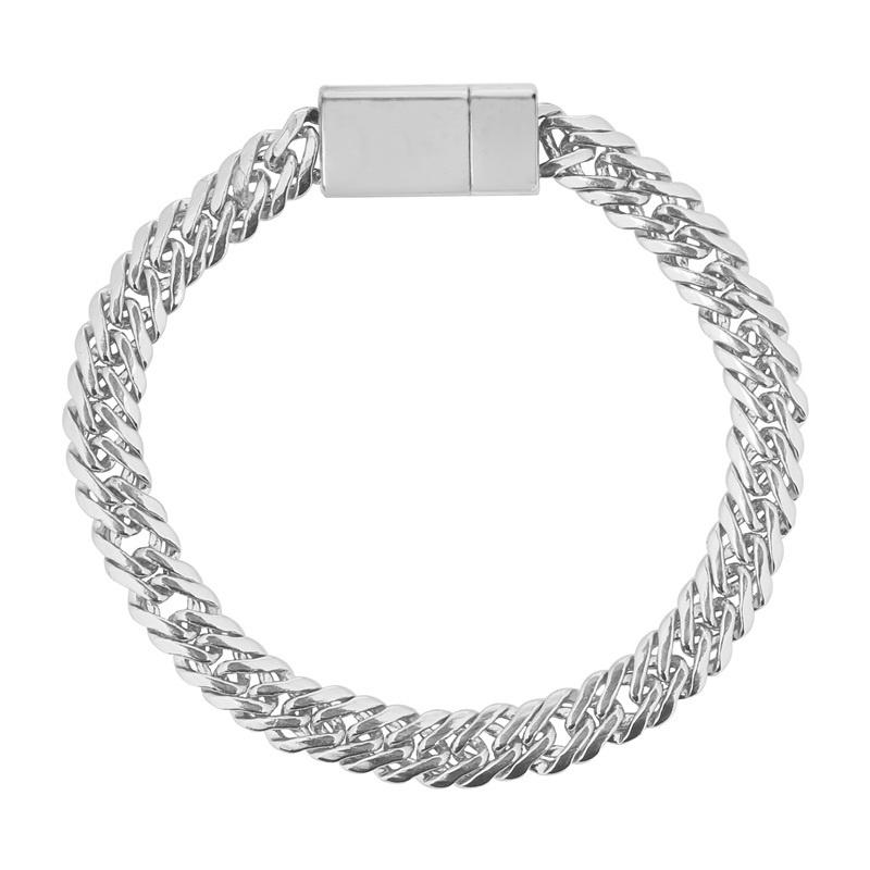 Prachtige zilverkleurige schakelarmband met magneetsluiting