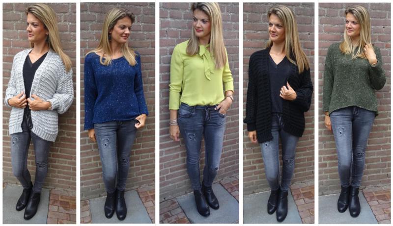 Prachtige grijze dames jeans met damaged plekken