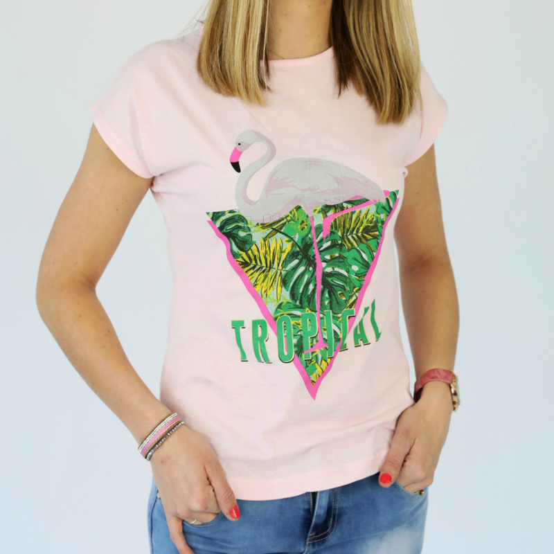 Roze t-shirt tropical met flamingo print