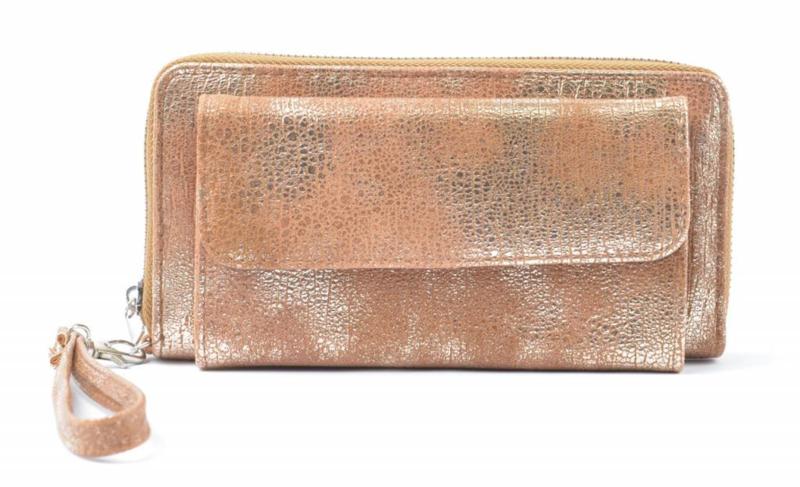 Metallic effect bruin portemonnee