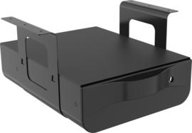 Opberglade onder bureau zwart met slot
