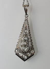 Prachtige witgouden  Art Deco hanger met roosgeslepen diamanten ca. 1910