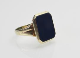 Gouden herenring zegelring met blauwe lagensteen / agaat