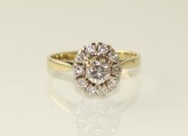 Vintage gouden rozetring met briljant geslepen diamanten