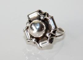 Vintage zilveren design ring gestilleerde bloem