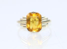 Antieke Art Deco gouden ring met citrien