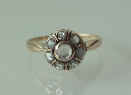 Antieke roségouden ring met roosdiamanten