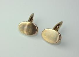 Vintage gouden ovale manchetknopen 14 karaat met fijn ribbeldecor