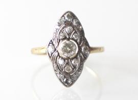 Art Deco gouden ring met oudslijpsel diamanten, ca. 1910