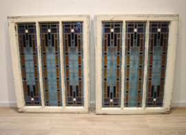 Set antieke glas-in-loodramen